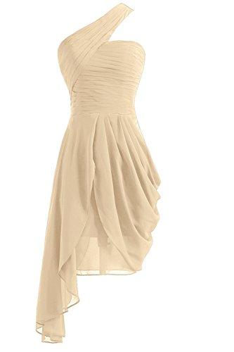 Fanciest Damen One Shoulder Blau Brautjungfernkleides Kurz Abendkleider  Ballkleider Champagne