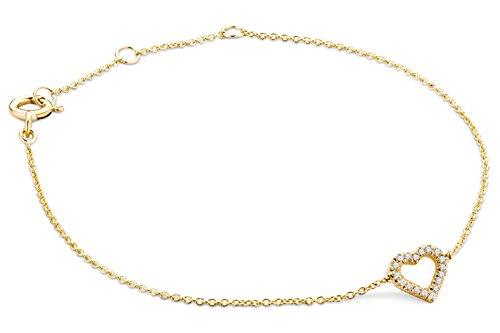 Miore Armband - Armreif Damen Kette Gelbgold 9 Karat / 375 Gold mit Herz Diamant Brillianten 0.06 ct 19 cm - Frauen Für Diamant-gold-armbänder