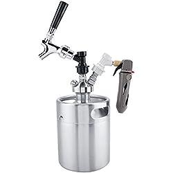 Fdit1 2L Mini fût en Acier Inoxydable avec Robinet pressurisé Home Brewing Craft Distributeur de bière Set Mini Keg Beer Homebrewing Home Brew