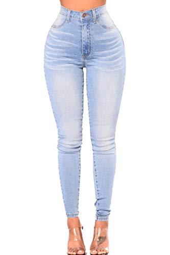 Yacun jeans attillati donne alta vita magro slim matita pantaloni jeans blu chiarocolor m