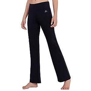 Matymats Damen Yoga Hose mit hoher Taille mit ausgestelltem Bein, Sporthose, Bootcut