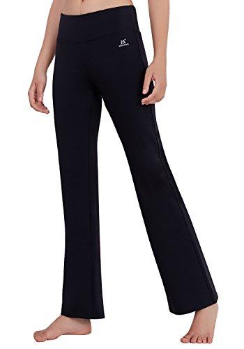 Matymats Damen Yoga Hose mit hoher Taille mit ausgestelltem Bein, Sporthose, Bootcut xl schwarz (Petite Bootcut-hose)