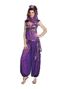 *Burlesque Box* Ladies Belly Dancer Genie Princess Jasmine Aladdin Arabian Nights Adult Fancy Dress Costume (6 - 8, Purple)