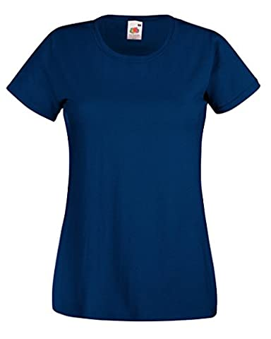 Fruit Of The Loom 61372 Womens Short Sleeve Ladies Lady-Fit Valueweight T-Shirt Tee - Navy - Small