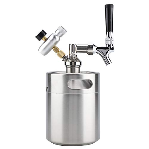 Aufee beer keg, mini keg in acciaio inox da 2l con rubinetto, erogatore di birra pressurizzato home brewing per la fermentazione, la conservazione e la distribuzione di birra artigianale