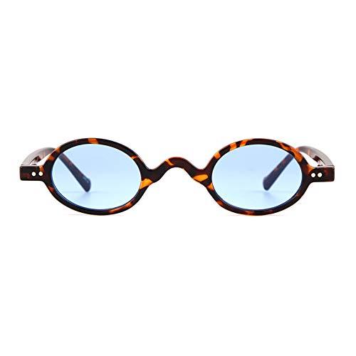 ZRTYJ Sonnenbrille Gothic Oval Sonnenbrille Frauen Männer Markendesigner Vintage Schildpatt Rahmen Blue Sunnies Sun Glasses Shades