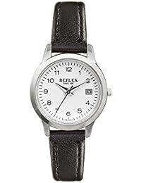 Reflex Damen runden Zifferblatt Armbanduhr mit schwarz PU Lederband und Datum Funktion ref0061