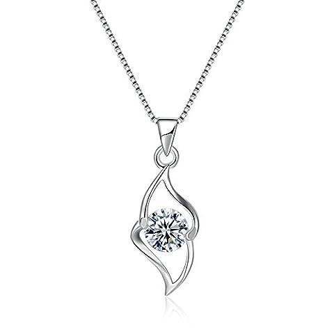 AnaZoz S925 Silver Cubic Zirconia Hollow Lozenge Shaped Box Chain Women Engagement Pendant Necklace