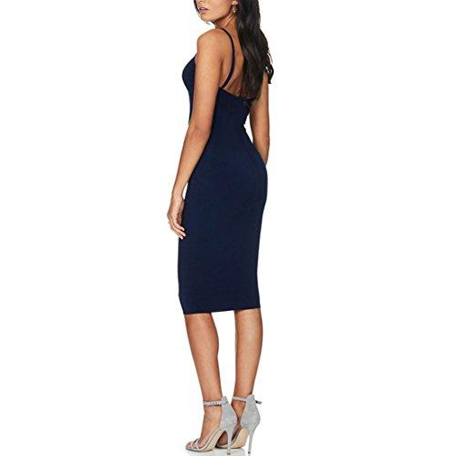 QIYUN.Z Femmes Mode Sans Manches Bandage Club Party Halter Cou Bodycon Crayon Robe Bleu Marin