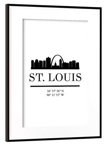 artboxONE Poster mit Rahmen Schwarz (Metallic) 45x30 cm ST Louis Missouri Black Skyline von Emiliano Deificus - Missouri Rahmen