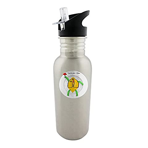 Stainless steel bottle with straw top of This is one of Thank you Mom series for the coming Mother s Day. The image which depicts a white plate with the image which includes the word Thank you Mom and
