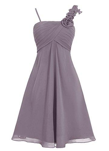 Dresstells Damen Brautjungfernkleider Kurz Homecoming Kleider Mit Zwei Träger Grau