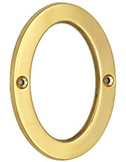 "Wigano 4""Inch Brass Lacquered Finish Stylish House Door Numbers (Number 0)"