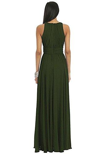 Victory Bridal Élégante robe de soirée, longue, à encolure en U, descendant jusqu'au sol, en mousseline Pour demoiselle d'honneur fête danse Lilas