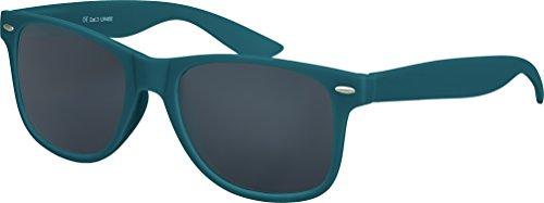 Balinco Hochwertige Nerd Sonnenbrille Rubber im Wayfarer Stil Retro Vintage Unisex Brille mit Federscharnier - 96 verschiedene Farben/Modelle wählbar (Dunkelblau/Grün - Smoke)