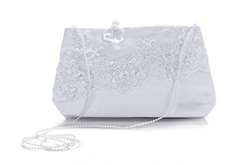 Princess Taufkleid Brautbeutel aus Satin in Weiß und Ivory Weiß mit Blumenstickerei