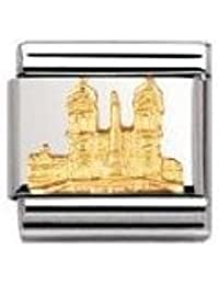 Nomination Composable Classic Relief Monument Piazza di Spagna Stainless Steel and 18K Gold