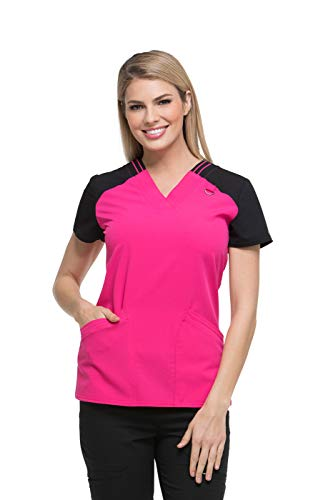 Dickies Xtreme Stretch by Women's V-Neck Solid Scrub Top Large Hot Pink