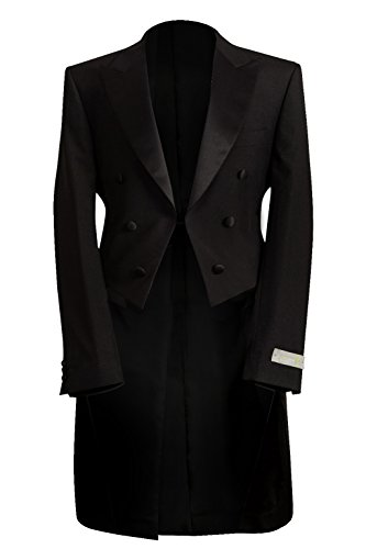 Schwarz Vier Stück Abend Tails Gr. (42S) UK Jacke - (36S) UK Hose, Schwarz - 36s Wolle