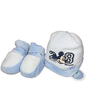 Set 2pz cappello cappellino scarpine ciniglia bimbo neonato Ellepi Disney Baby Mickey cielo