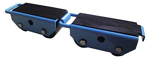 T-EQUIP Zwei Fahrwerke DOL-25 für Schwerlasten bis 2,5 Tonnen, 2er Set, Transportfahrwerke, Schwerlastroller, Transportgeräte, verbindbar, Ladefläche: 25 x 11 cm, Blau
