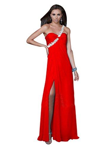 BOMOVO Damen Elegant Lang Geblümt Spitzen Brautjungfer Chiffon Abendkleid Maxikleid Cocktailkleid Rot