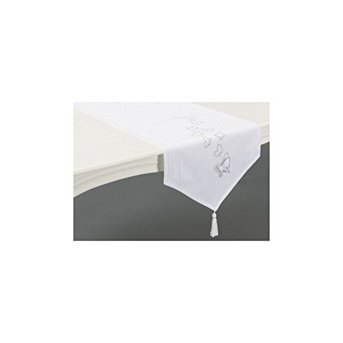Chemin de table en pointe blanc envolee 45x150cm Amadeus
