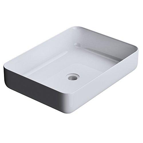 Mai & Mai Aufsatz-Waschbecken Colossum812 Mineralguss Recht-eckig Waschschale Waschplatz Waschtisch Weiß ohne Armaturenloch