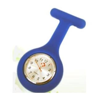 Nurses Fob Watch–Dark blue–silicone (Infection Control) + White Holder FREE by Amatola-Kei