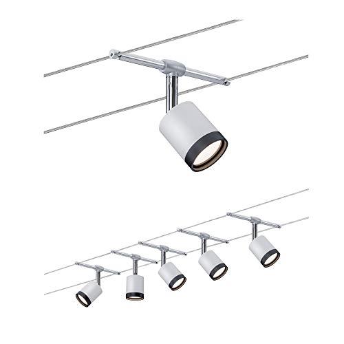 Paulmann 3981 TubeLED Système d'éclairage à spots sur câble - Set d'éclairage par fil sous tension avec 5 lampes suspendues - Plafonniers LED modernes et éco-énergétiques en plastique blanc/chrome