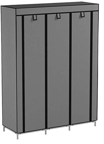 UDEAR Armario de Tela Plegable Ropa Organizador Closet portátil Guardarropa Gris