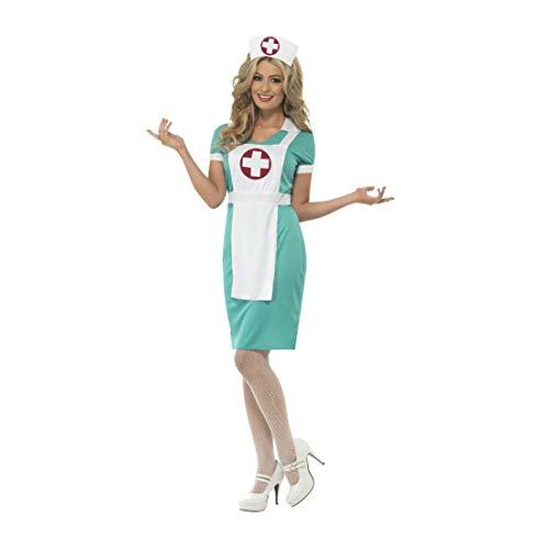 Hebamme Kostüm - Attraktives Ärztin-Kostüm für Frauen / Türkis-Weiß in Größe M (38/40) / Schwesternkostüm Krankenpflegerin geeignet zu Mottoparty & Kostümfest