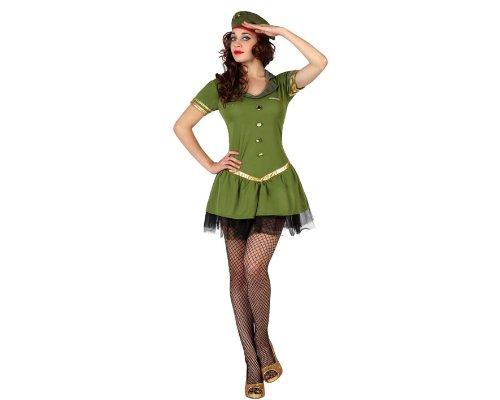 Atosa 22244–Costume da soldatessa, taglia XS/S, verde