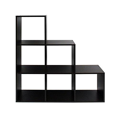 Rebecca mobili libreria da terra scaffale cubi 6 scomparti legno wengè design contemporaneo portaoggetti cameretta studio (cod. re6041)