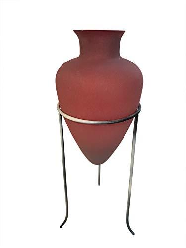 Vase antiker Stil bauchig im Metallständer rote Glas Amphore Glas Höhe ca. 32 cm Gesamthöhe ca. 50 cm