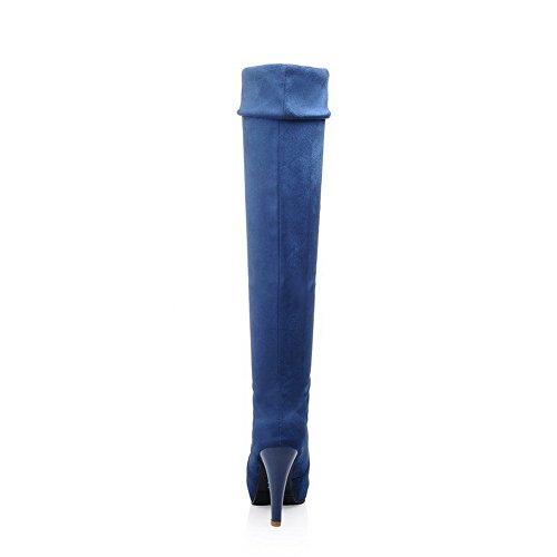 Em Salto Botas Bulbo Fosco Alto Agoolar Tração Rodada Senhoras Vidro De Puro Azuis Toe 5aPw7pn0