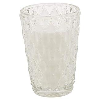 Vela aromática de algodón en portavelas de cristal, color blanco, tamaño mediano y grande