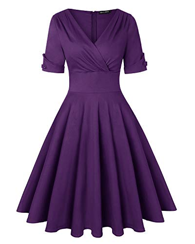 MINTLIMIT Damen Polka Dot Retro Partykleider V-Ausschnitt Halbe Ärmel Vintage Teekleid (Purple,Größe M)