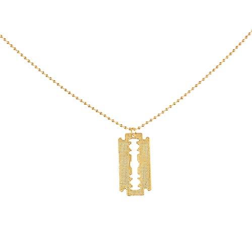 Fenteer Personalisierte Halskette Barber Klinge Anhänger Metallkette Kette für Männer -