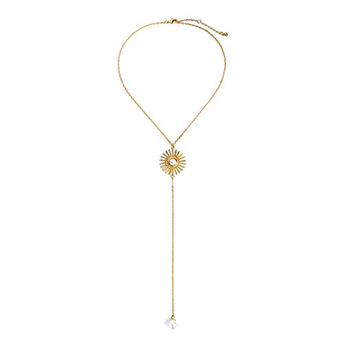Lange Halskette mit rundem Anhänger, goldfarbene Kunstperlen, 39 cm -
