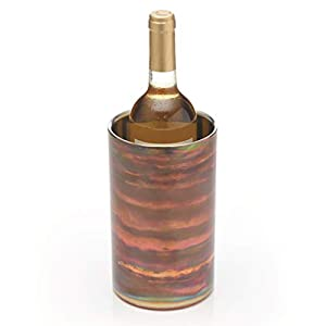 "BarCraft Double-Walled Stainless Steel Wine Bottle Cooler, 12 x 20 cm (4.5"" x 8"") - Iridescent Copper-Effect Finish"