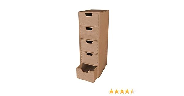 mit 5 Schubladen Standregal Holz unbehandelt MidaCreativ stabiles Schubladen-Regal