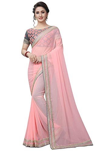 Tagline Faux Georgette Saree With Embroidered Blouse Piece