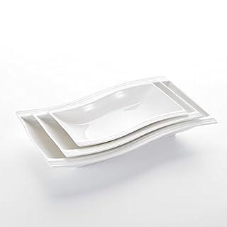 MALACASA, Série Flora, 3pcs Assiettes Creuse Assiette à Soupe Pâte Dessert Service Vaisselles de Table Porcelaine Rectangulaire 13.25