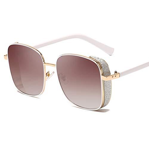 YHgiway Square Steampunk Sonnenbrillen für Damen & Herren, Metallrahmen Shiny Shades Sonnenbrille verspiegelte Gläser - Unisex Vintage Eyewear UV400 Protection YH7271,Whiteedge/BrownGradient