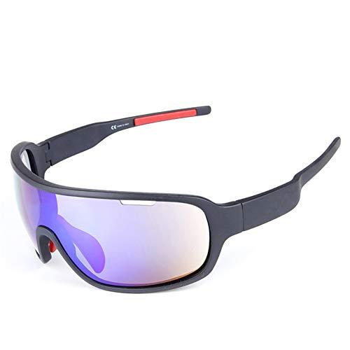 CIHART Fahrradbrille Polarisierte Sonnenbrille Sport Blendschutz für Unisex Leichte Frame Level 3 Anpassung Kurzsichtigkeit Anpassung,Black-Frame -