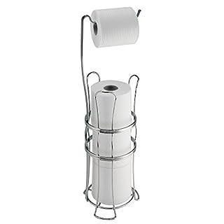 mdesign toilettenpapierhalter ohne bohren freistehender klorollenhalter frs badezimmer farbe chrom mobiler papierrollenhalter - Freistehender Toilettenpapierhalter Mit Lagerung