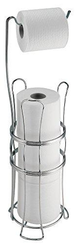 mDesign Portarrollos papel higienico para colocar sin tornillos - Soporte papel higienico para baño - Dispensador de papel sanitario de diseño autoportante - Color cromado