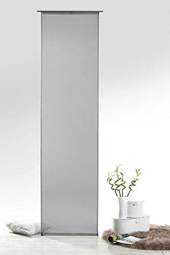 Fashion&Joy - Schiebegardine Voile Grau HxB 245x60 cm mit Zubehör - Transparent Einfarbig - Flächenvorhang Schiebevorhang Gardine Typ418