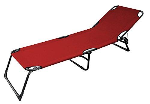 3-Bein Gartenliege mit 600gr. Oxford Gewebe rot